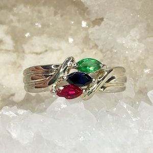 Sterling Silver Emerald Ruby Sapphire Stone Ring